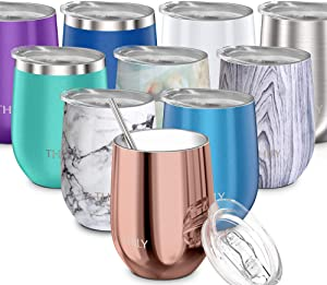 Wine Tumbler Vacuum Insulated Stemless - THILY 12 oz Triple-Insulated Stainless Steel Wine Glass with Lid and Straw, Keep Cold or Hot for Coffee, Cocktails, Christmas Birthday Gift, Rose Gold