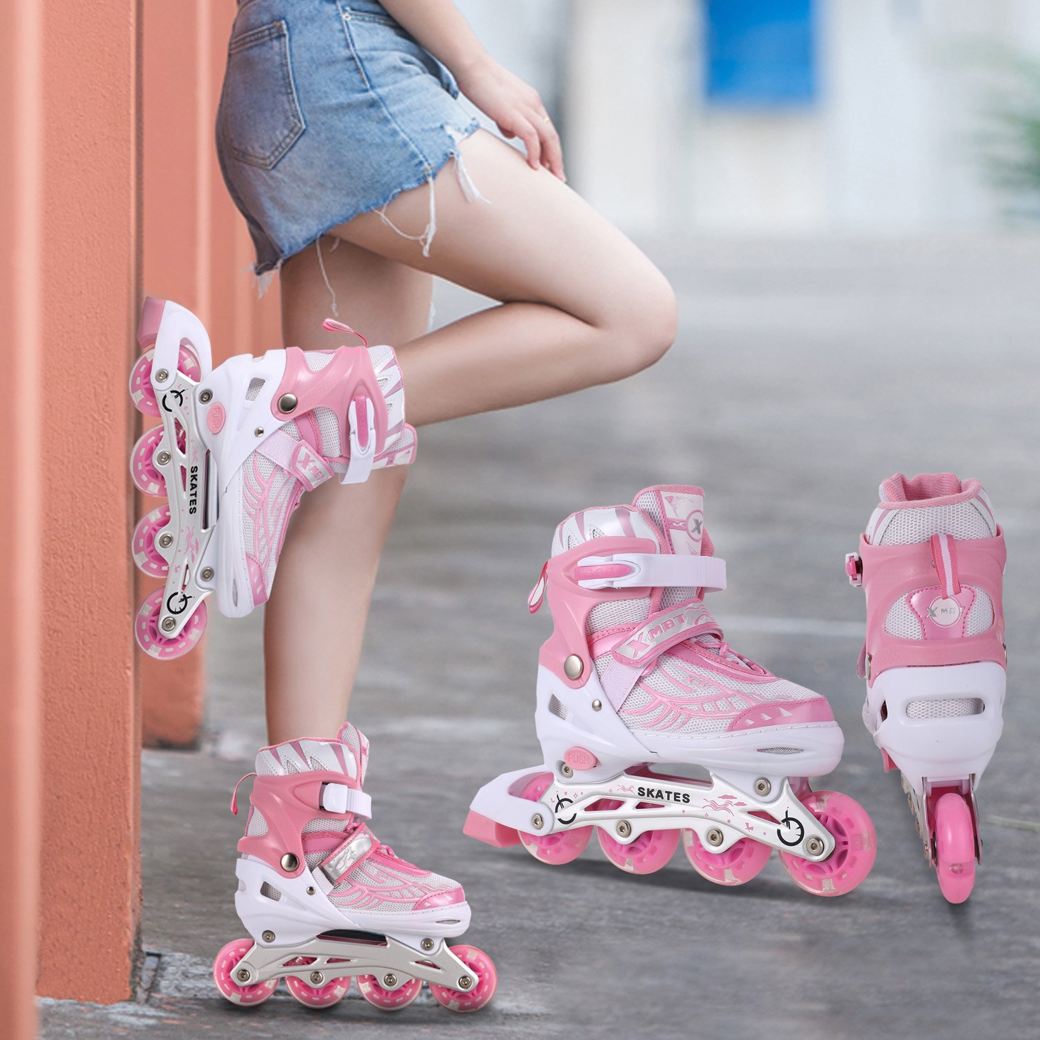 Anfan 3 Sizes Adjustable Inline Skates Adults Kids Rollerblades with Breathable Mesh Eight Illuminating Wheels Aluminum Frame(US Stock) (Pink, US 5-8)