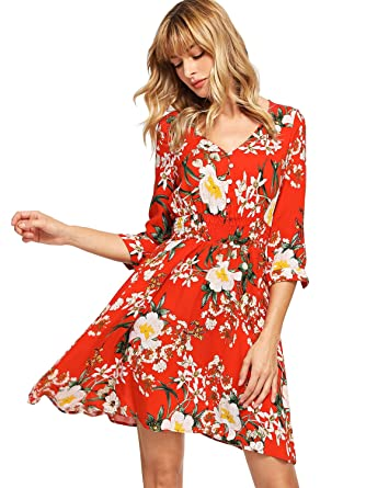 8b45ff2224 Milumia Women's Boho Button Up Split Floral Print Flowy Party Dress X-Small  Multicolor-