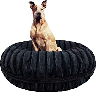 product image for BESSIE AND BARNIE Signature Black Puma Extra Plush Faux Fur Bagel Pet/Dog Bed (Multiple Sizes)