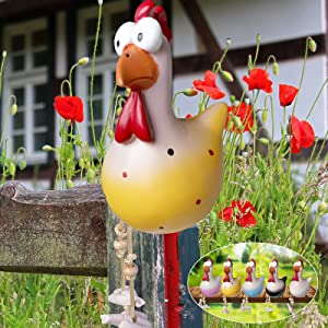 Outdoor Chicken Decor Garden Statues, Outdoor Animal Garden Statues Resin Rooster Decor Garden Decoration for Outside, Funny Rooster Sculptures Kitchen Courtyard Farm Decor Ornament