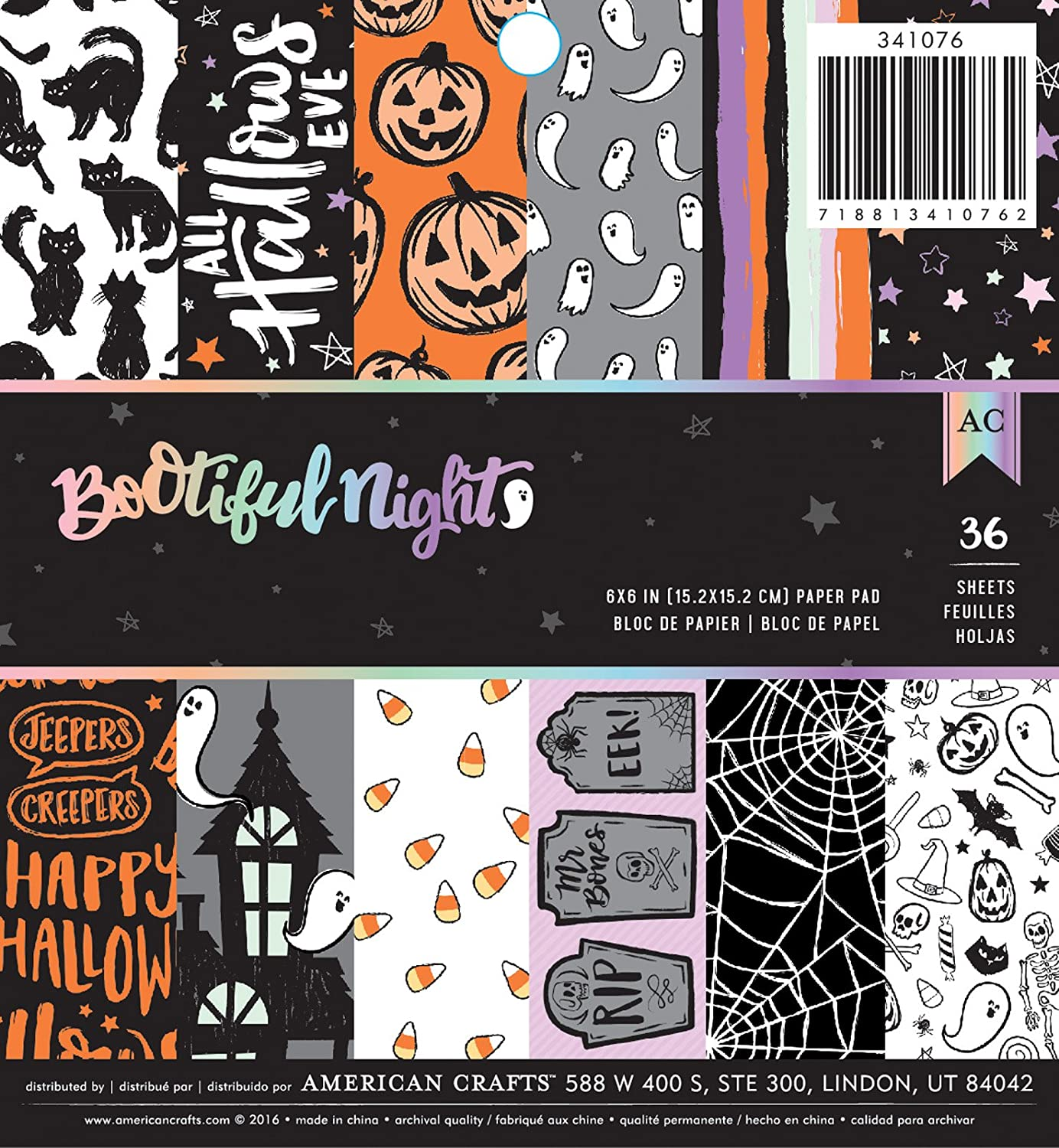 American Crafts BOOtiful Night 6 x 6 Inch 36 Sheet Paper Pad Halloween
