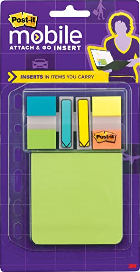 3.94 x 5.5 Inches Post-it Mobile Attach and Go Insert PM-INSERT1 Includes Attach and Go Full Adhesive Notes and Flags Dispenser