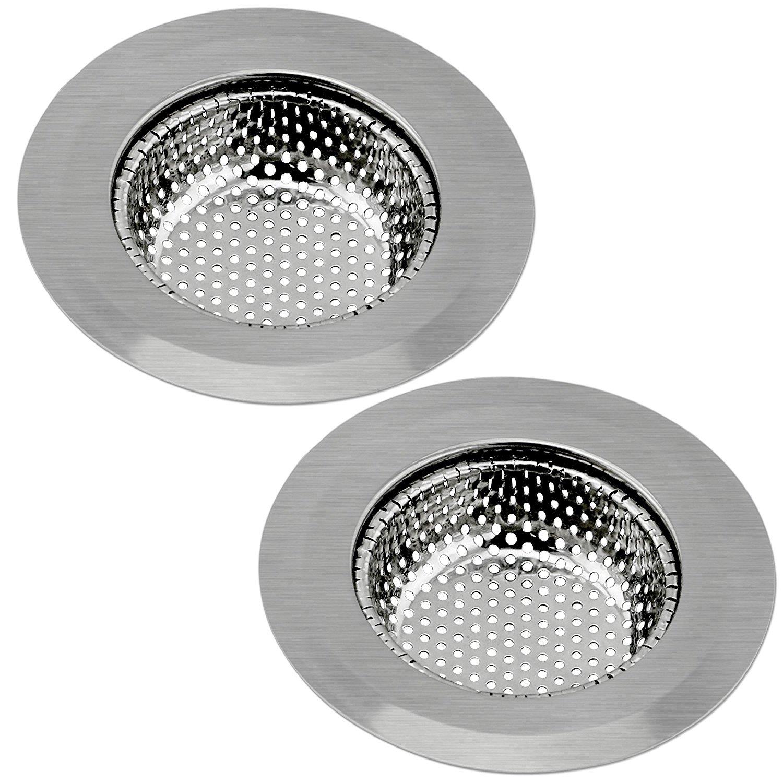 2PCS la rete filtro per lavello da cucina in acciaio INOX resistente di grande diametro 11,4cm diametro totale, perfetto per lavelli da cucina (grande) Baisheng