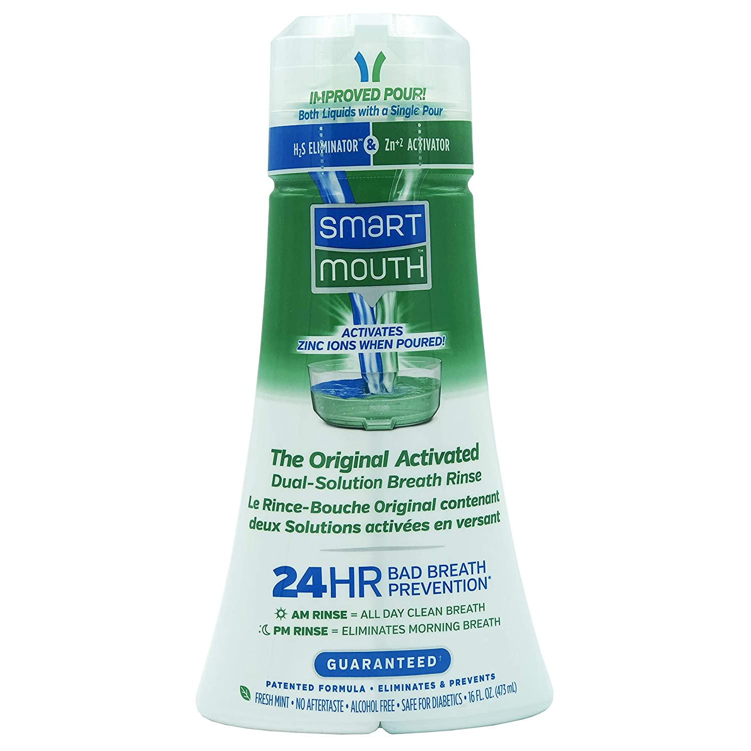 SmartMouth Original Activated Mouthwash for 24 Hour Bad Breath Prevention, Fresh Mint, 16 fl oz, 2 Pack: Health & Personal Care