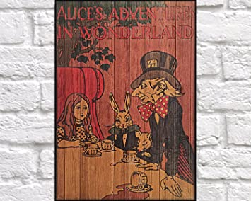 Woodensign Bois Lewis Carroll Couverture De Livre Art