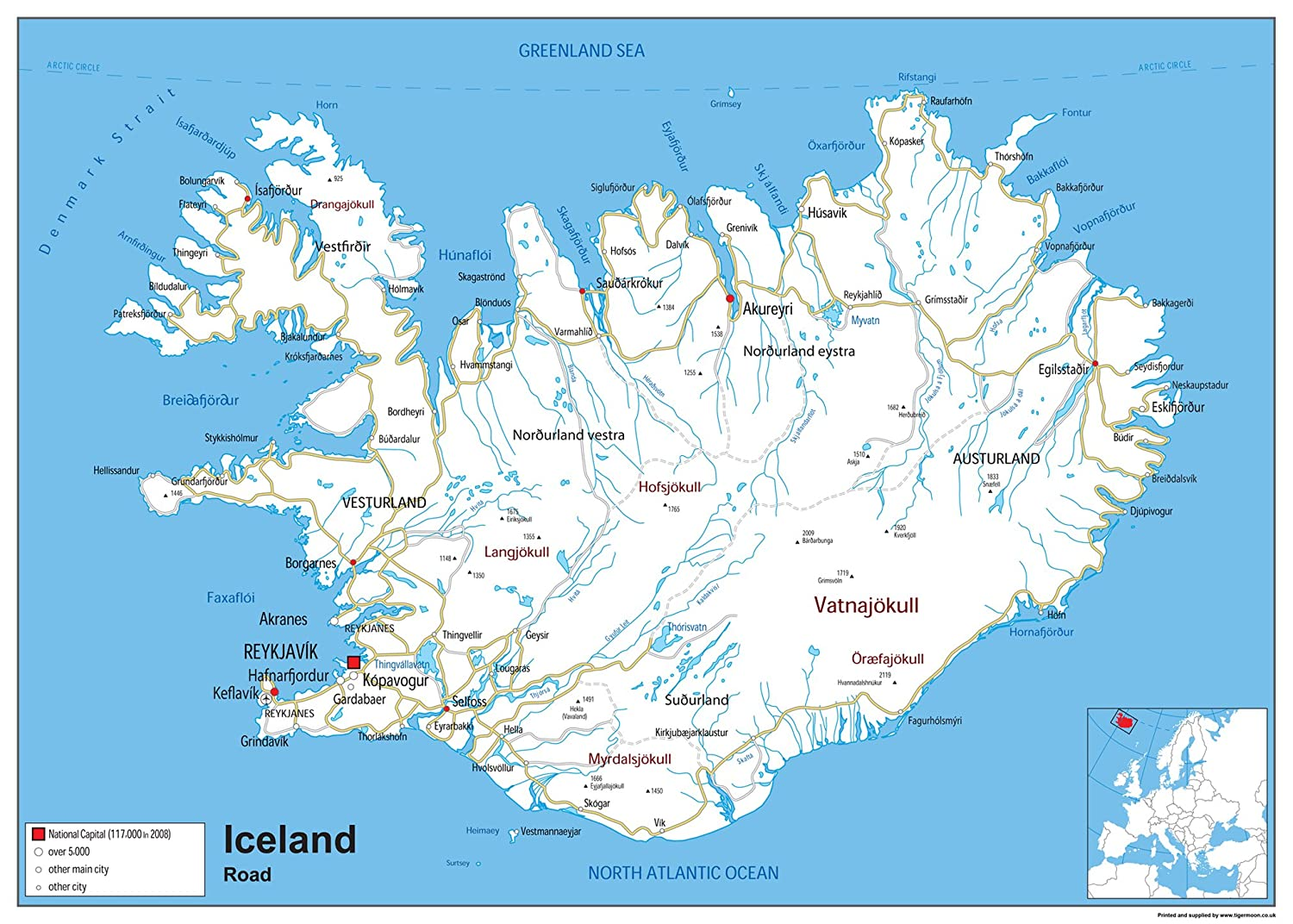 Iceland Road Map - Paper Laminated (A0 Size 59.4 x 84.1 cm): Amazon ...