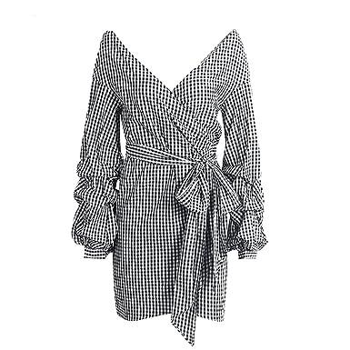 a4160224c4 King Fury1 Women Sexy Off Shoulder Stripe Deep v Neck Dress Summer Wrap  Dress Shirt