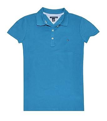 e83e2d02 Tommy Hilfiger Women Classic Fit Logo Polo T-Shirt (XL, Dark cyan) at  Amazon Women's Clothing store: