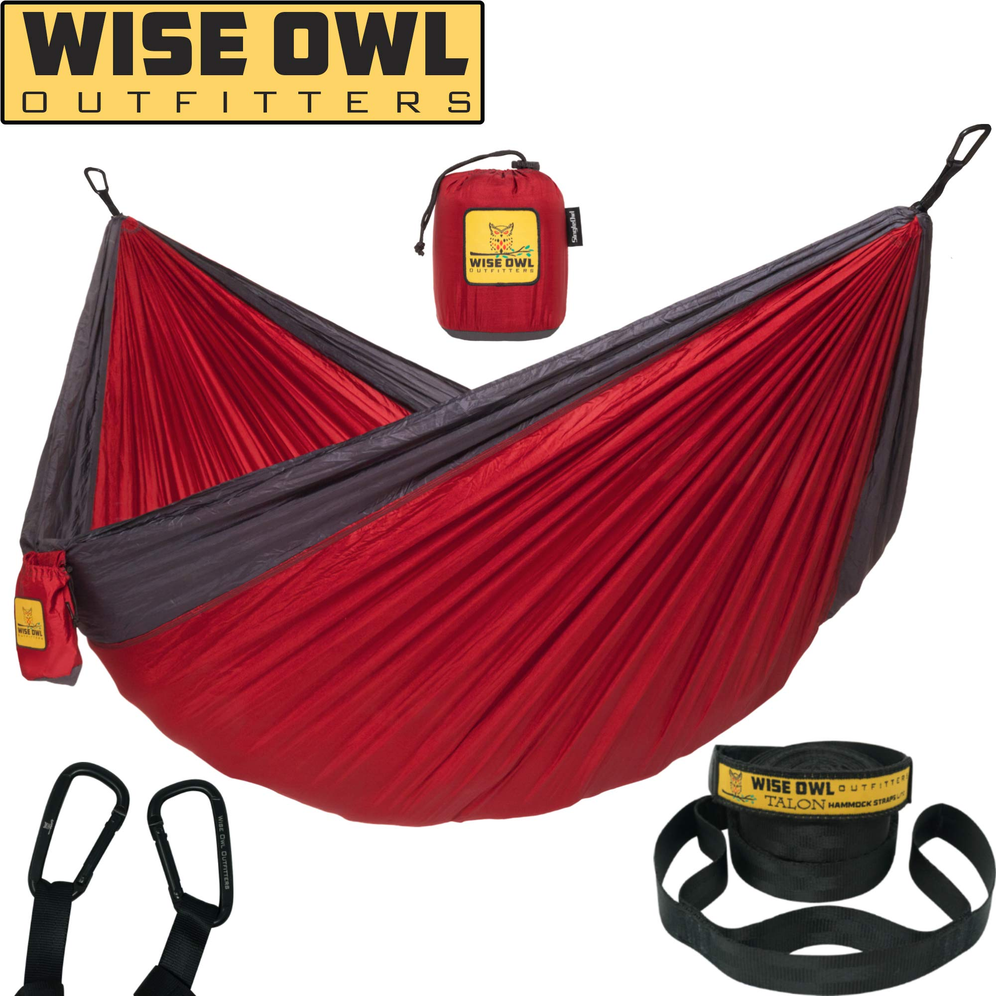 Wise Owl Outfitters Hammock for Camping Single & Double Hammocks Gear for The Outdoors Backpacking Survival or Travel - Portable Lightweight Parachute Nylon SO Red & Charcoal by Wise Owl Outfitters