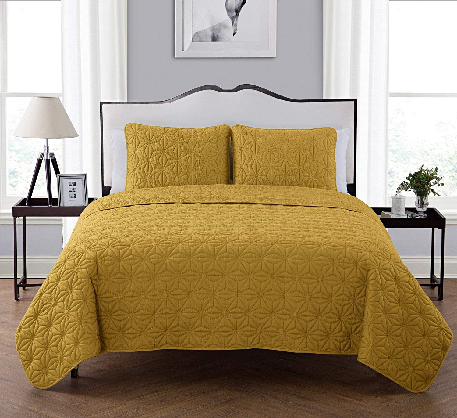 VCNY Home King Size Quilt Set in Gold Eye-Popping Geometric Pattern Beautiful Blanket 3 Pc Set w/ 2 Shams