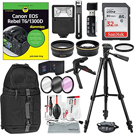 Canon EOS Rebel T6/1300d para Dummies + Deluxe Accessory Bundle ...