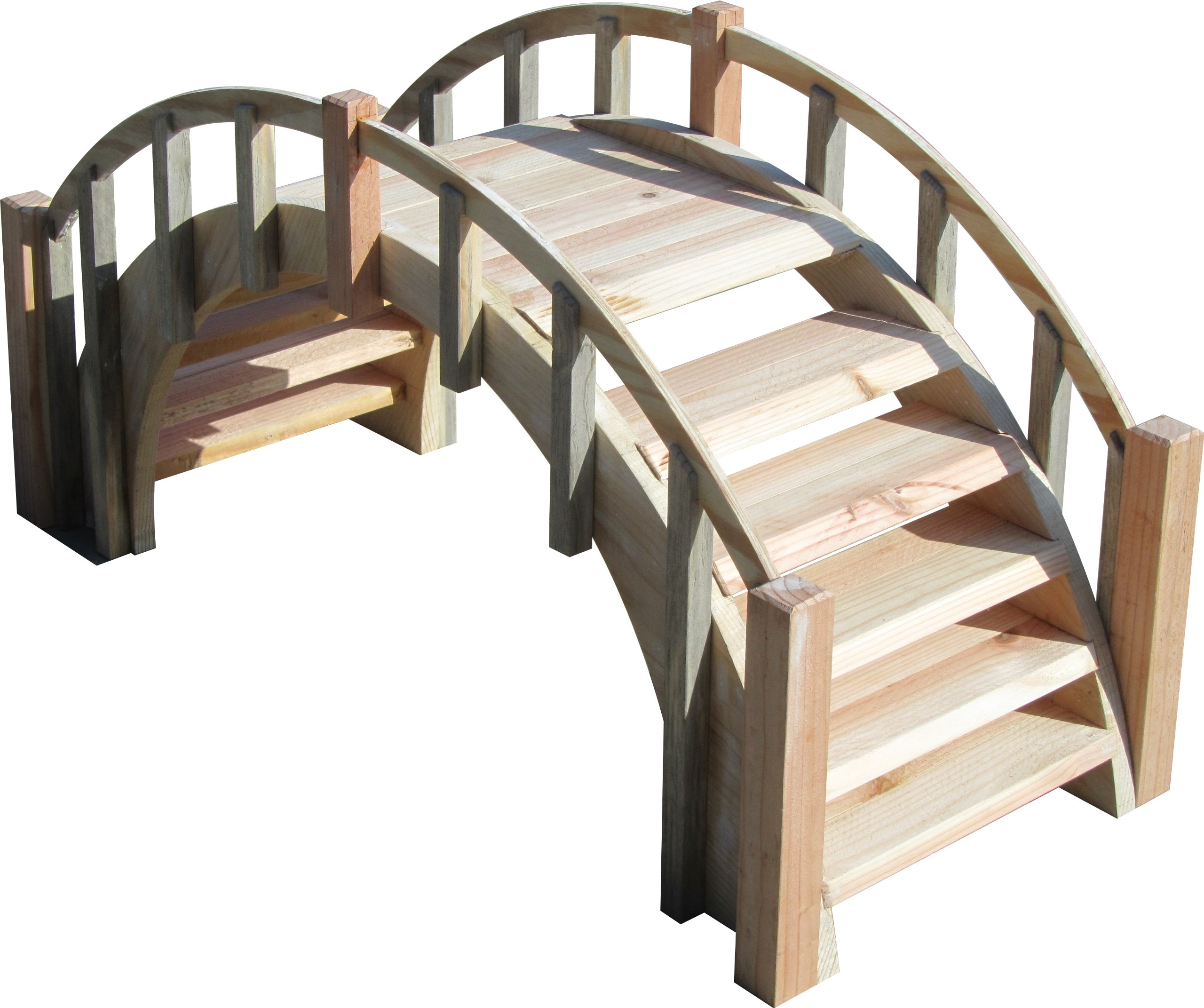 SamsGazebos Fairy Tale Wood Garden Bridge with Decorative Picket Railings and Steps, 33'' L, Unfinished
