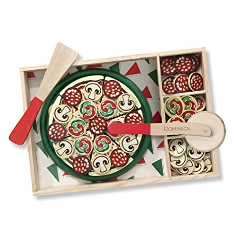 Melissa Doug Personalized Pizza Party Wooden Play Food Set With 54 Toppings