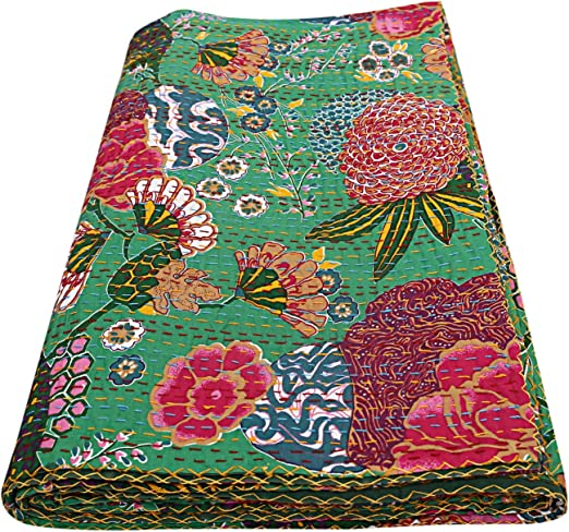 Hand Stitched Dual Layered Cotton Kantha Quilt.