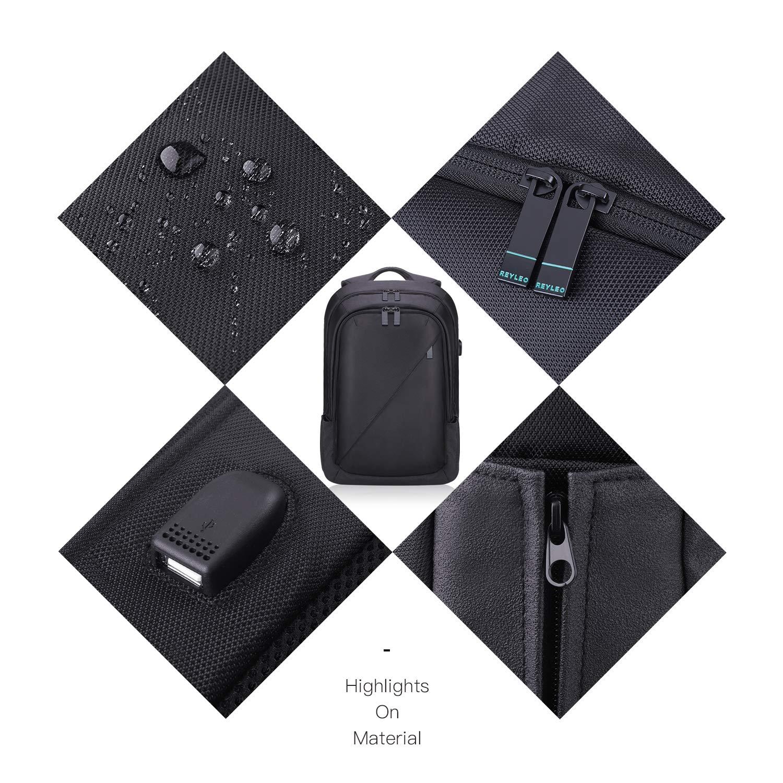26L Negro RB01 Plus Mochila de Port/átil REYLEO Mochila Hombre con Puerto de USB para Ordenador hasta 15,6 Pulgadas, Mochila Escolares Impermeable para Diario Negocio Trabajo Viaje