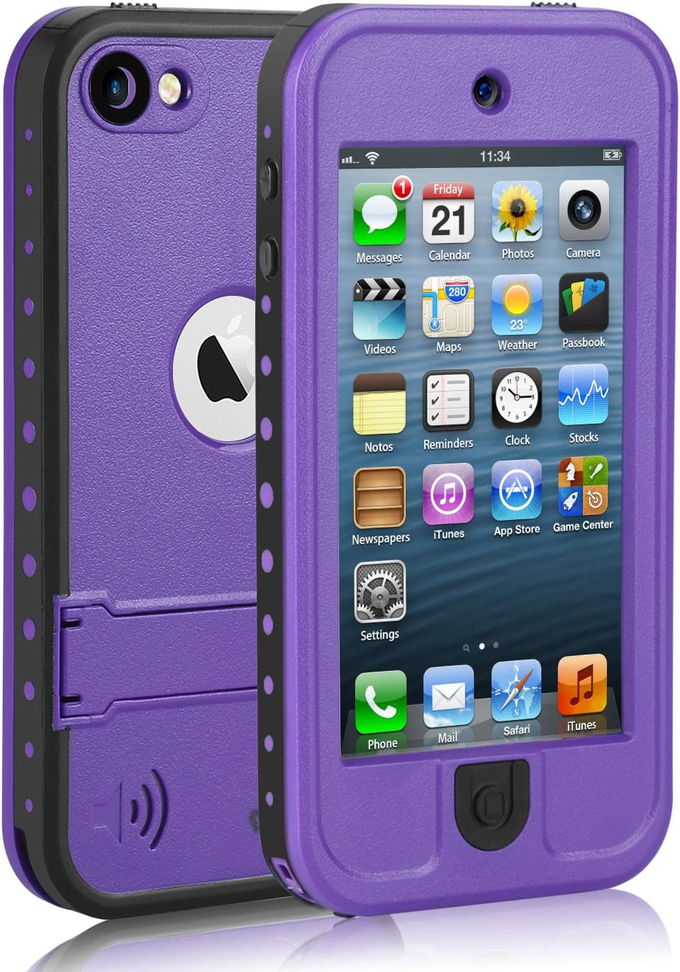 Waterproof Case for iPod 7 iPod 5 iPod 6, Meritcase Waterproof Shockproof Dirtproof Snowproof Case Cover with Kickstand for Apple iPod Touch 5th/6th/7th Generation for Swimming Snorkeling(Purple)