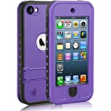 Waterproof Case for iPod 5 iPod 6, Meritcase Waterproof Shockproof Dirtproof Snowproof Case Cover with Kickstand for Apple iPod Touch 5th/6th Generation for Swimming Snorkeling Diving (Purple)