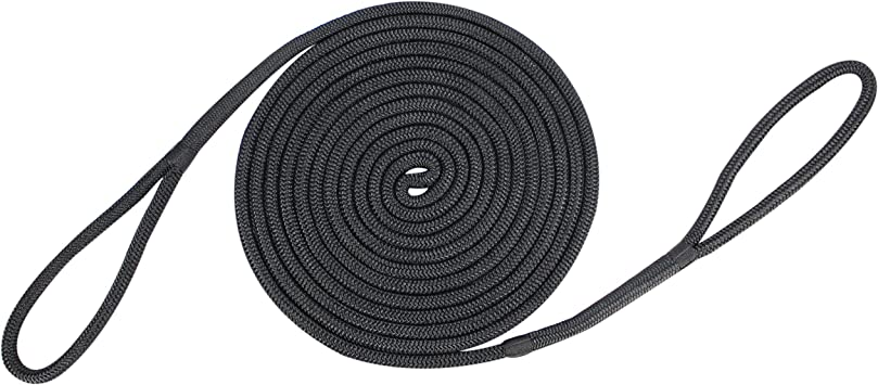 "3//4/"" x 300 feet DOUBLE BRAID NYLON ROPE dock anchor mooring pull lines Black"
