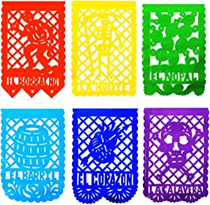 TexMex Fun Stuff Papel Picado La Loteria Mexican Plastic Banners - 2 Pack (20 Ft Long) Colorful Mexican Party Banners   Fiesta Papel Picado Mexican Banners for Parties   Banderines Decorations Papel