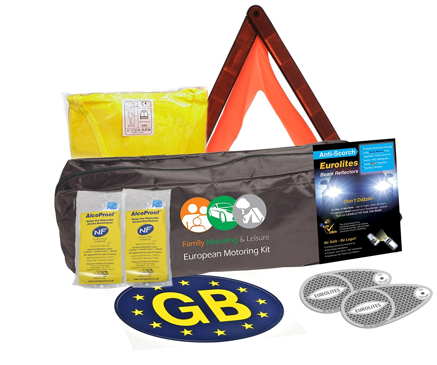 European Travel Motoring Kit For Driving In Europe With Euro GB Sticker & Twin Pack Breathlaysers