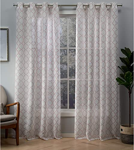 Exclusive Home Curtains Helena Trellis Print Sheer Grommet Top Curtain Panel Pair, 54×96, Blush