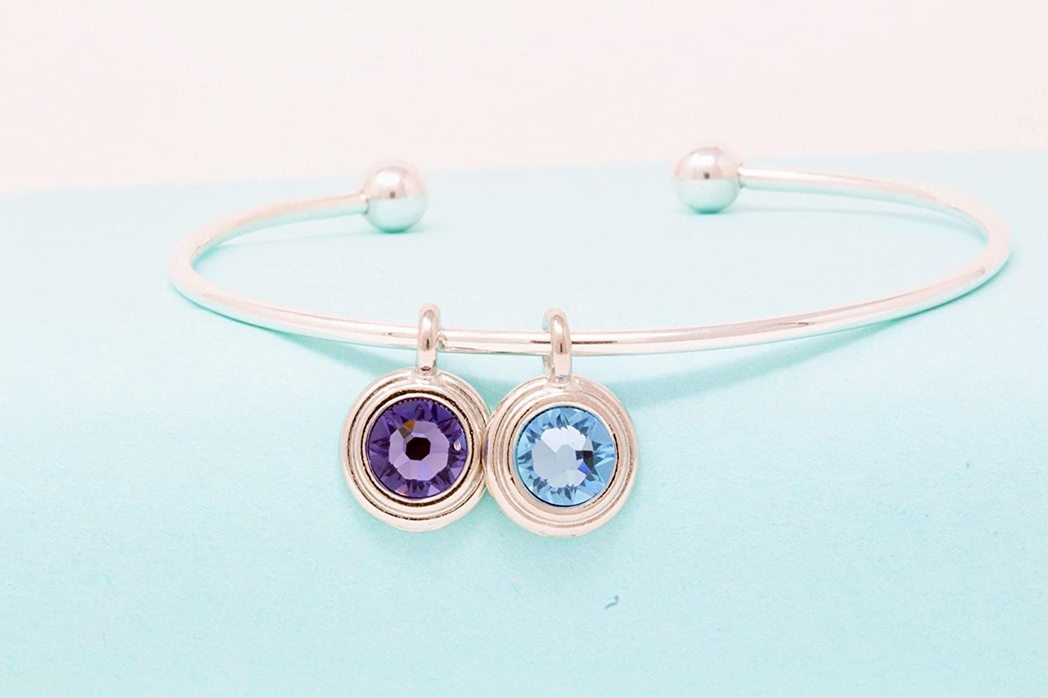 Sterling Silver Bangle Bracelet With Birthstone Charm