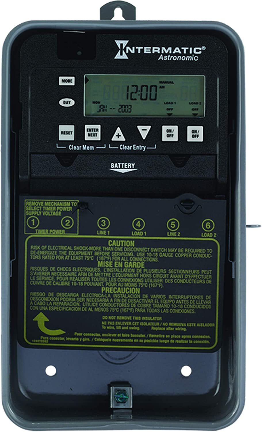 INTERMATIC ET8215CR Timer,7-Day,SPST,120 to 277VAC,30A