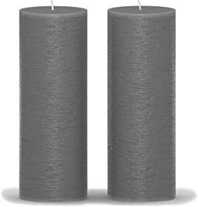 CANDWAX 3x8 Pillar Candle Set of 2 - Decorative Candles Unscented and No Drip Candles - Ideal as Wedding Candles or Large Candles for Home Interior - Dark Gray Candles