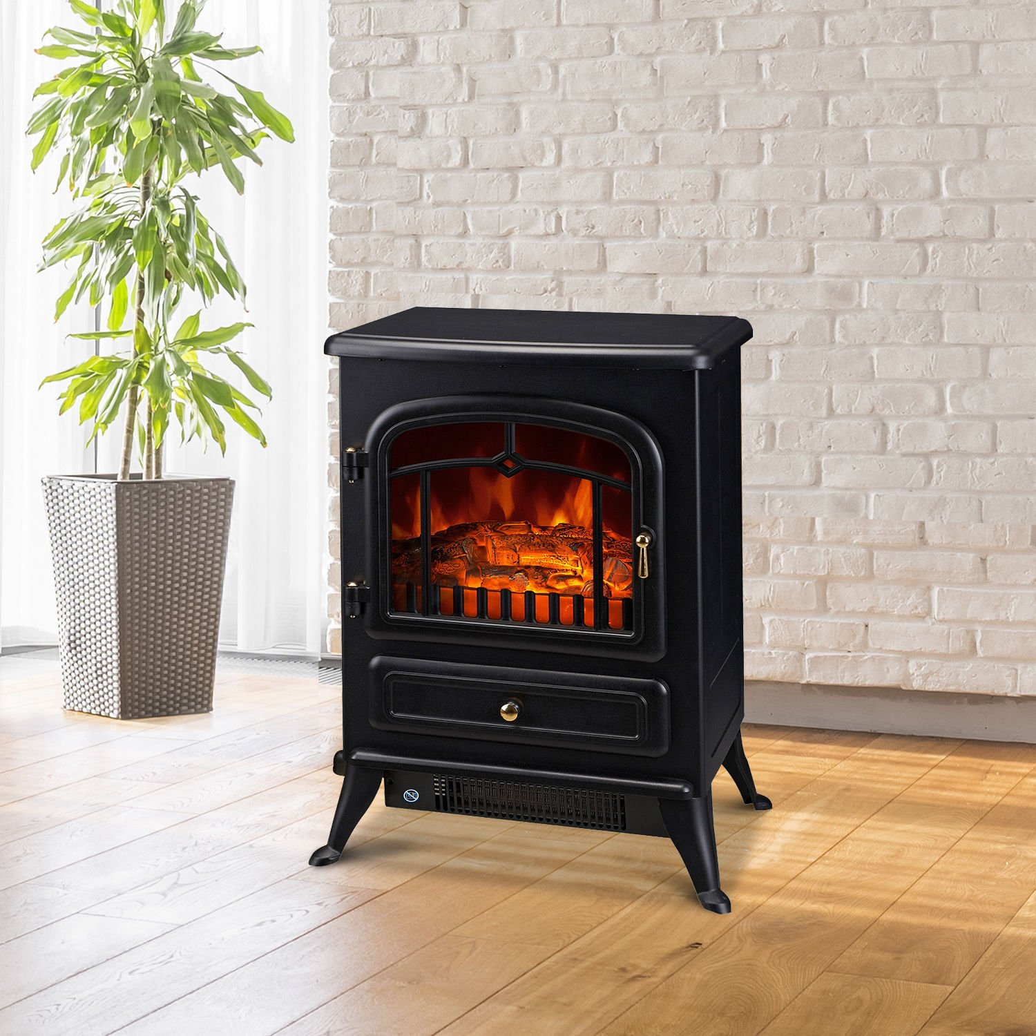 Homcom Freestanding Electric Fire Place Indoor Heater Glass View Log