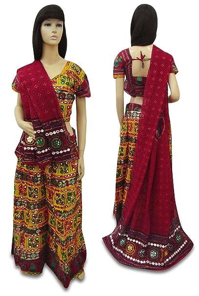 65364f24196b3 Amazon.com  Vintage Rajasthani Style New Lehenga Set Indian Cotton  Multicolor Dandiya Dress  Arts