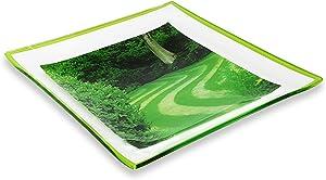 GAC Unique Landscape Design Square Tempered Glass Serving Plates – 10.5 Inch – Set of 2 – Break Resistant – Oven Proof - Microwave and Dishwasher Safe – Attractive Green Colored Dinner Plate Set