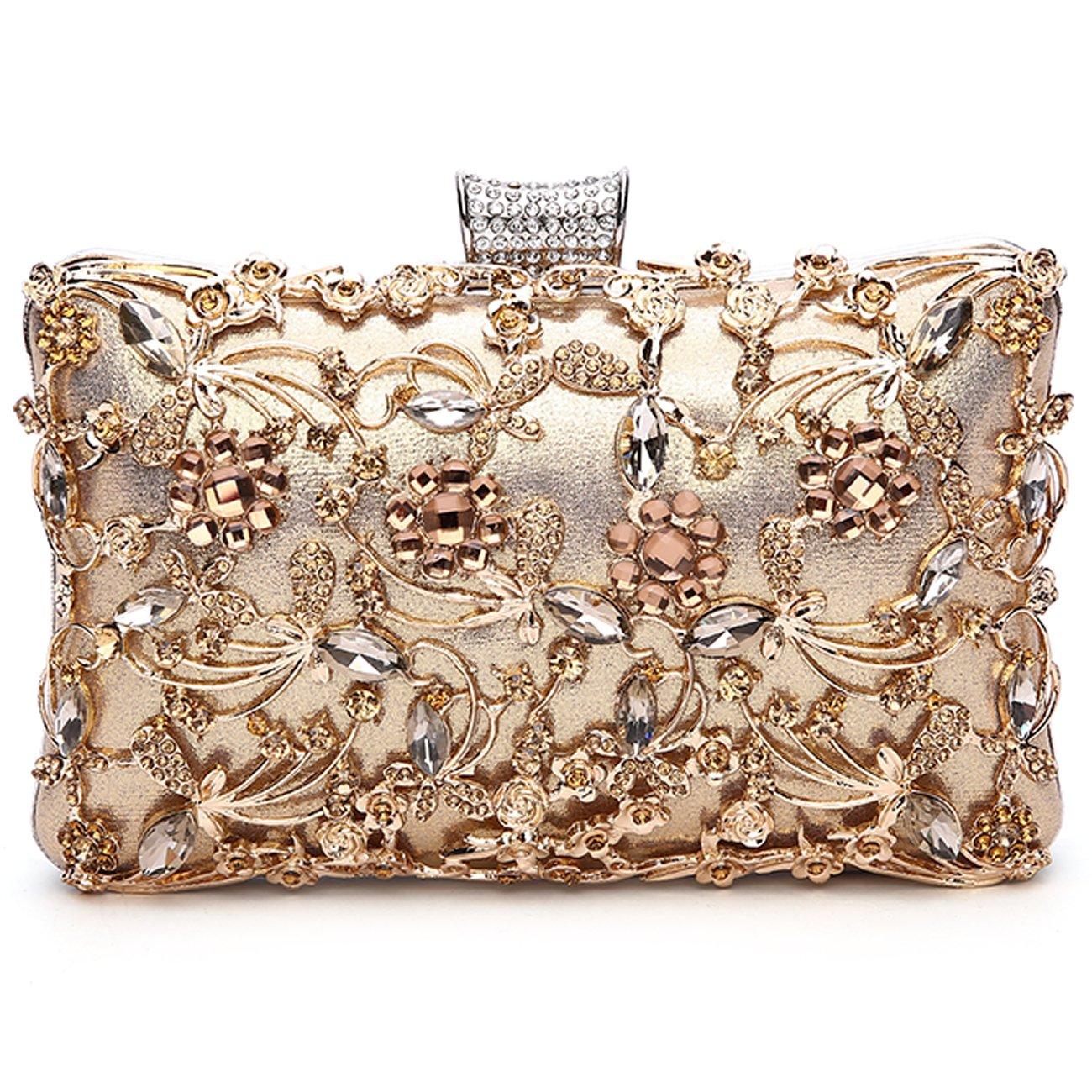 GESU Large Womens Crystal Evening Clutch Bag Wedding Purse Bridal Prom Handbag Party Bag.(Gold)