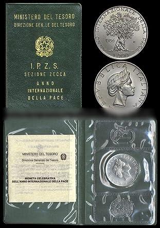 """753561054f Italia 500 lire Argento""""Anno Internazionale della Pace"""" Fior di  Conio FDC (11"""