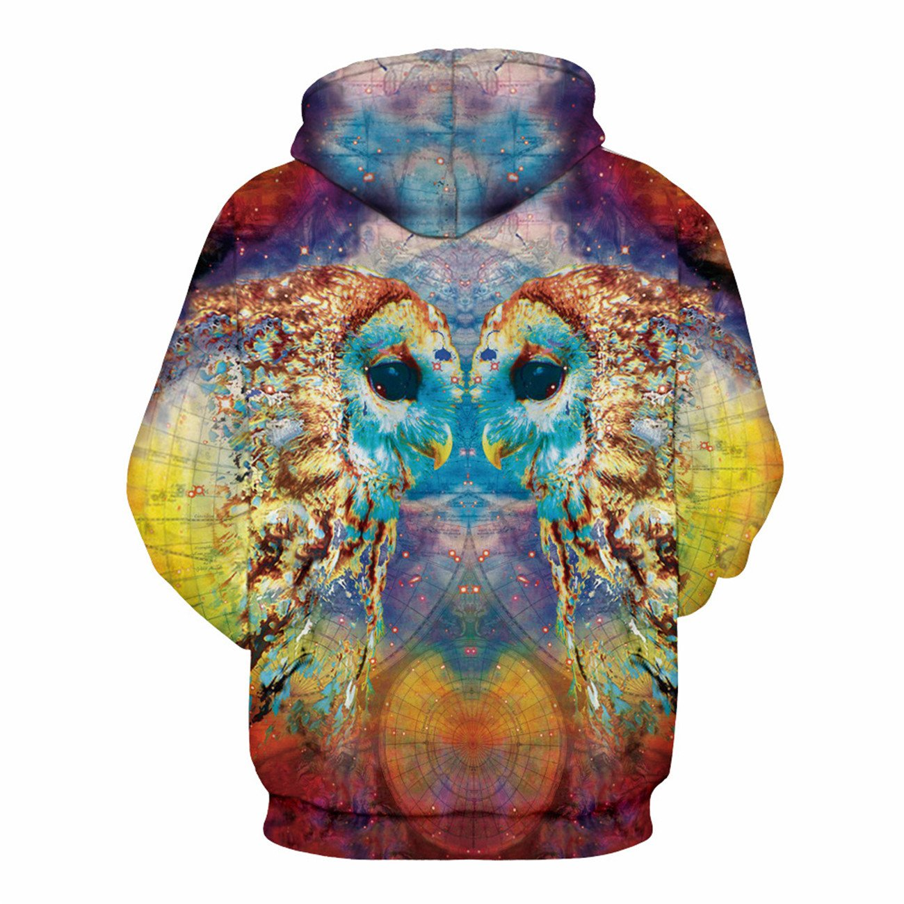 Mens Long Sleeve 3D Digital Print Colorful Parrot Lovers Design Sports Pullover Hoodies