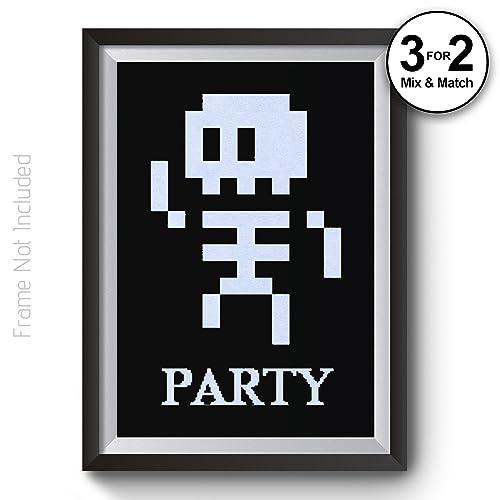 8-Bit Retro Skeleton Party Black White Pixel Wall Art Poster Print ...
