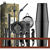 18-Piece Bartender Kit with Bamboo Stand by Homestia Cocktail Shaker Set for Drink Mixing Stainless Steel Bar Tool Gift…