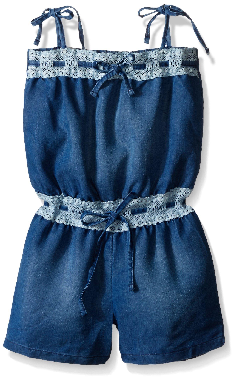 kensie Girls' Short Romper, 1322-Medium Blue Denim, 5/6