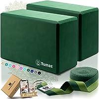 Tumaz Yoga Blocks Set van 2 met premium yoga-riem, hoge dichtheid yogabricks om de flexibiliteit van de wervelkolom te…