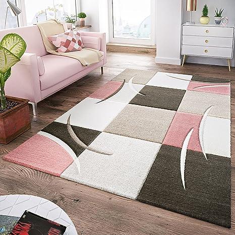 T T Design Tapis Moderne Salon A Carreaux Tendance Pastel Rose Beige Gris Creme Dimension 120x170 Cm