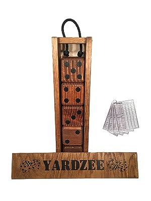 Yardzee Giant Yard Dice Set with custom wood storage case, 4 dry erase score cards and 5 Lawn Dice.