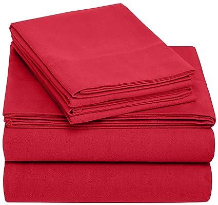 Amazon.com: Pinzon 170 Gram Flannel Sheet Set – Twin XL, Merlot
