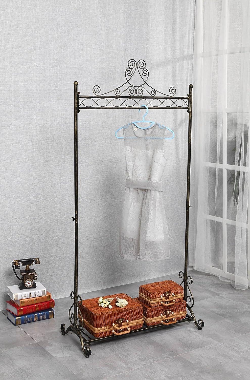 NEUN WELTEN Vintage Perchero Blanco para Prendas Soporte para Colgar Ropa con Estante de Zapatos Metal (Bronce)
