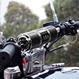 GoldenHawk Waterproof Bluetooth Wireless Motorcycle Stereo Speakers 7/8-1.25 in. Handlebar Mount MP3 Music Player Audio Amplifier System Scooter Bike ATV UTV Jet Ski, AUX in, USB, microSD, FM Radio