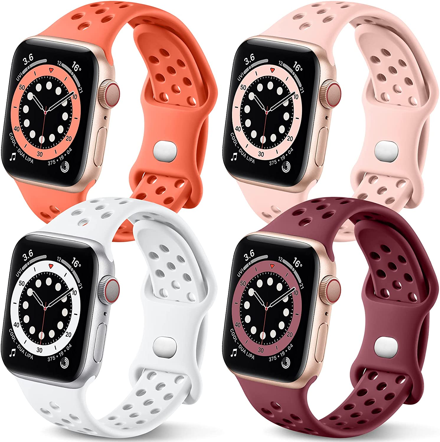 Getino Compatible with Apple Watch Band 40mm 38mm iWatch SE & Series 6 & Series 5 4 3 2 1 for Women Men, Soft Silicone Stylish Breathable Sport Replacement Wristband, 4 Pack, White/Wine Red/Pink/Coral