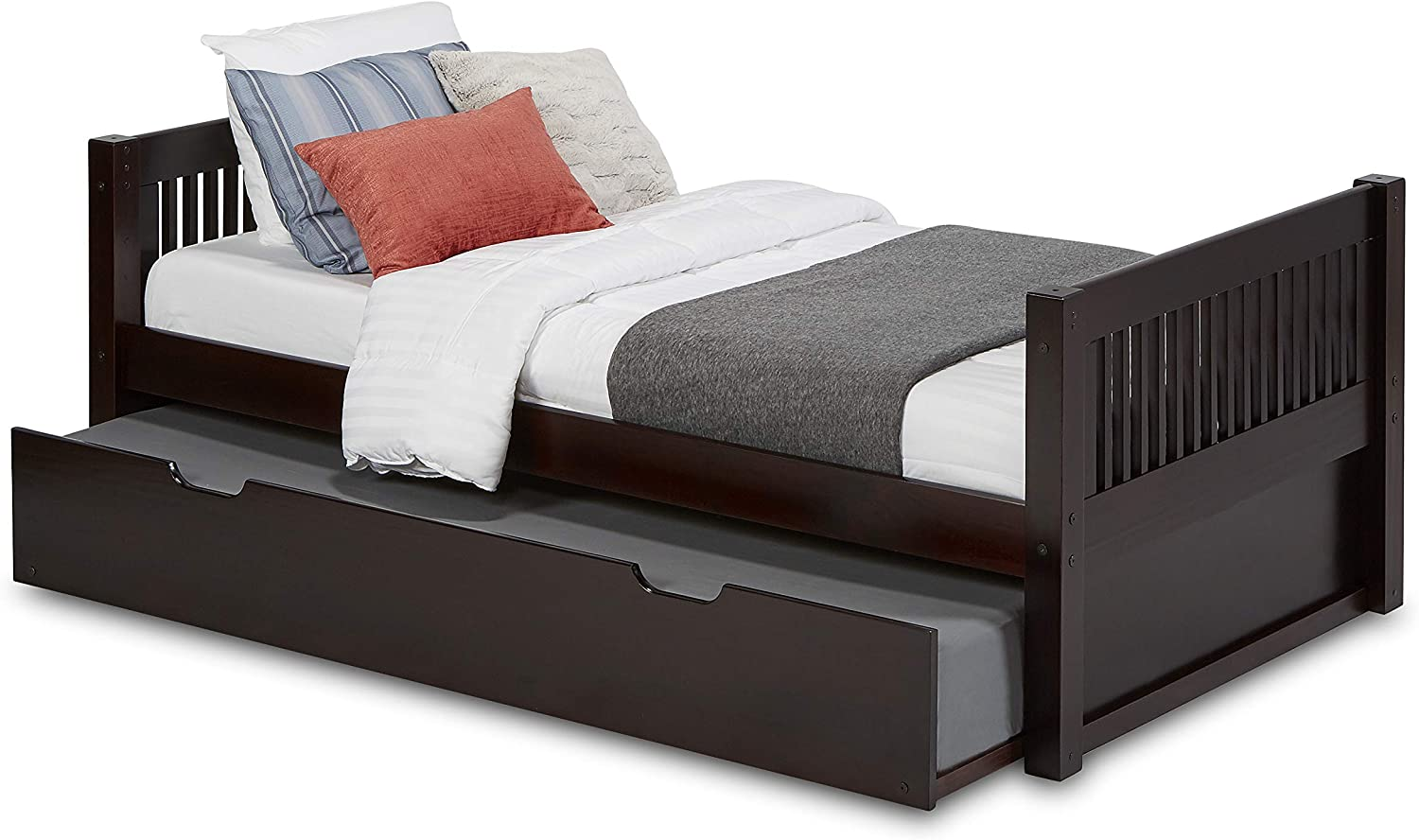Camaflexi Mission Style Solid Wood Platform Bed, Twin, Cappuccino