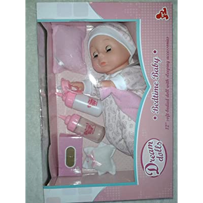 My Dream Doll Bedtime Baby, 11 inch Soft-Bodied Doll with Bedtime Accessories: Toys & Games