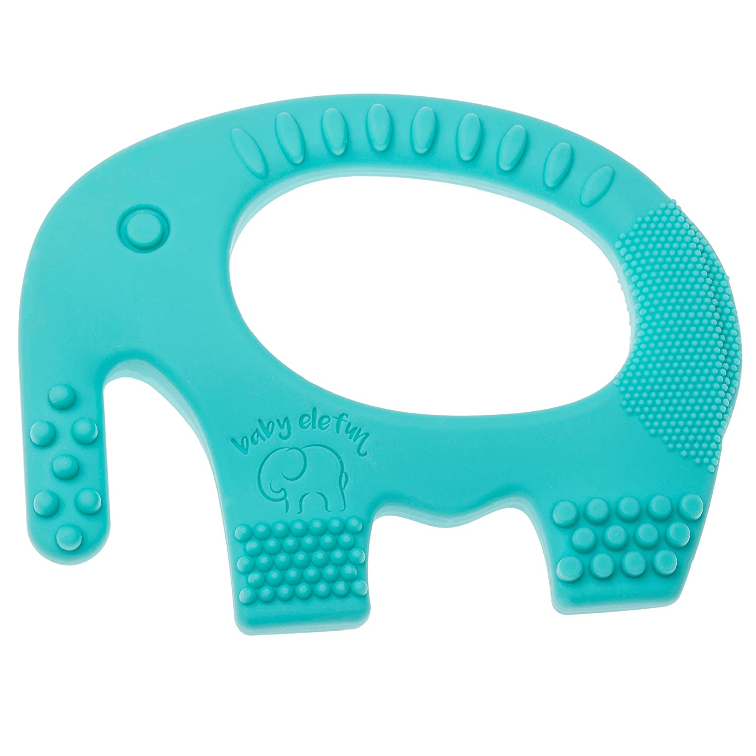 Baby Teething Toys - Adorable Turquoise Silicone Elephant Teether BPA Free - Best For Girl Or Boy Infant Newborn 3 6 12 Months / 1 Year Old Cool Sensory Learning Baby Shower