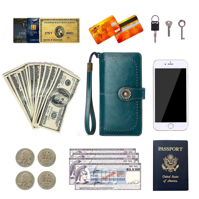 Billetera Peque/ña Mujer Billetera con Cierre Cremallera Cartera de Cuero Monedero Cartera de Embrague
