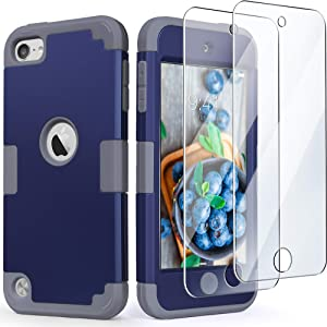 iPod Touch Armor Case with 2 Screen Protectors, IDweel 3 in 1 Hard PC Case + Silicone Shockproof for Kids Heavy Duty Hard Case Cover for 2019 iPod Touch 7th/6th/5th Generation, Navy Blue + Gray